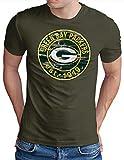 OM3® - Green Bay Badge - T-Shirt | Herren | American Football Shirt | Oliv, L