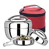 MYYU Tragbar Thermobehälter Lunchbox Food Jar Edelstahl Essen Isolierbehälter Box Warmhaltebox Geeignet Für EIN Picknick in Der Schule,Weiß,1.1L