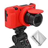 Gummi Ganzkörper- präzise Passform Professionelle Kameratasche Silikon-Schutzhülle Tasche Kompatibel Mit Sony ZV-1 (rot)