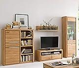 Wohnwand Pisa 29 Eiche Bianco massiv 4-teilig Medienwand TV-Wand Wohnzimmer TV-Möbel