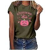 Damen Sommer Tops Verkaufsräumung, Damen Mode Casual Print O-Neck Lose Kurzarm T-Shirt Pullover Tops Damen Casual Tunika Blusen Werbeaktion Schwarz T Shirts
