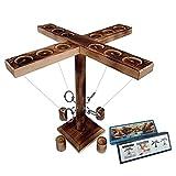 Hooks Ring Toss Game,Joycabin Vier Personen Toss Hook und Ring Toss Interaktives Kampfspiel,Spielzeug-Schuss-Leiterspiel für Kinder Erwachsene,handgefertigte Holztisch-Brettspiele für Bars Home Party
