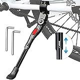 Fahrradständer Schwarz, Fahrradrahmen aus Aluminiumlegierung, Universal Seitenständer Fahrrad für Mountainbike, Rennrad, Fahrräder und Klapprad, Raddurchmesser 20 bis 27,5 Zoll, mit 2 Inbusschlüsseln