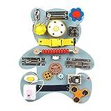 Vecksoy Activity Board Für Kinder Montessori Spielzeug,Baby-sensorische Aktivitätskarten Mit Einem Latch-Schloss, Reißverschluss, Formanpassung, Twist-Taste, Krawatte Gürtel, Gang