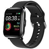 Smartwatch, YONMIG Fitness Tracker 18 Sportmodi 1.3 Zoll Touch-Farbdisplay Smart Watch mit Pulsoximeter Pulsuhr 5ATM Wasserdicht Sport Uhr Kompaß Schrittzähler Stoppuhr für iOS Android Herren