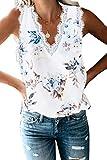 Damen Sommer Spitze V-Ausschnitt Tank Tops Elegant Lose Ärmellos Oberteile Shirt,Blumenweiß,XL