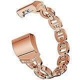YWZQ Sport-Armband, kompatibel mit Fitbit Charge 2, Edelstahl, Strass-Kette, Ersatz-Armbänder für Fitbit Charge 2, Pink