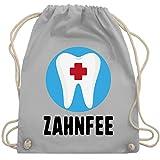 Shirtracer Karneval & Fasching - Zahnfee Zahn mit Kreuz - Unisize - Hellgrau - Fun - WM110 - Turnbeutel und Stoffbeutel aus Baumwolle
