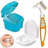 Prothesenbürste Set,Zahnspangenreiniger,zahnspangen reinigungsdose Aufbewahrungsbox,für Prothesen Prothesenzahnbürste(Orange Zahnbürste)