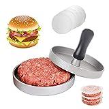 HEPAZ Burgerpresse mit 100 Blatt Backpapier,Hamburgerpresse Set aus Aluguss für leckere Hamburger,Patties, BBQ, Burger Presse mit Antihaftbeschichtung