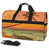 MALPLENA Flaming Cloud Palm Reisetasche, Wochenendtasche mit Schuhfach für Damen und Herren