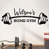 Personalisierte Fitnessstudio Wandtattosen Gewohnheit, Fitness, Bodybuilding-Haus, Inspirierender Vinyl-Aufkleber Gewichtheben, Geschenke für Männer 57x20