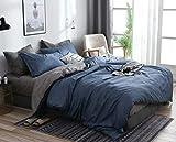 AShanlan Bettwäsche Set 140x200 cm Blau Grau Uni Einfarbig Wendebettwäsche 100% Weiche Angenehme Mikrofaser - 1 Bettbezug 140 x 200 cm + Kissenbezüge 70 x 90 Reißverschluss