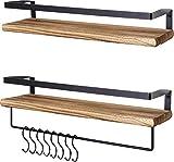 LifeGoods 2erpack Rustikale Holz Schweberegale mit Handtuchhalter und Haken | Hängeregale für Küche, Wohnzimmer, Badezimmer und andere Wanddekoration | Industrial Wandregale Schwebend | Gebrannt