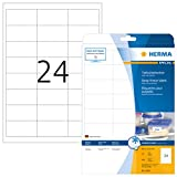 HERMA 4389 Tiefkühl-Etiketten DIN A4 (66 x 33,8 mm, 25 Blatt, Papier, matt) selbstklebend, bedruckbar, permanent haftende Haushaltsetiketten, 600 Klebeetiketten, weiß