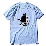RuaRua Herren T-Shirt Grafik,Baumwoll-Kurzarm, Lässiges T-Shirt Mit Cat-Print, Hellblau, L.