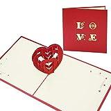 Pop-Up Karte, Herzförmig Karte, 3D Grußkarten, Besondere Geburtstagskarte für Sie und Ihn, Romantische Liebeskarte zum Jahrestag, Hochzeitstag oder Geburtstag für Frau und Mann (Ich Liebe Dich)