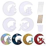 4 Stück Halbmond Form Epoxidharz Form Silikon Epoxy Gießformen Mond Wolf, Mond Katze, Mond Fee, Mond Fisch Schwanz Harzform für handgemachte DIY Handwerk (Stil 1)