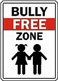 HONGXIN Bully Free Zone Blechschild Retro Zinn Zeichen Metall Zeichen Vintage Plaque Metal Zinn Zeichen Metall Poster Wanddekoration für Zuhause Küche Garage Bar Pub Geschenk 20 X 30 cm