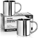 com-four® 2x Edelstahl Thermobecher - 300 ml je Becher - Isolierbecher doppelwandig - Kaffeetasse bruchsicher - Thermo-Trinkbecher - Camping Becher - Tasse - BPA-frei (300ml)