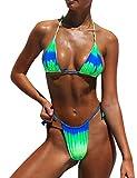 Pfreesea Damen-Bikini, brasilianischer Tanga, Batik, hoher Schnitt, zweiteiliger Badeanzug - Grün - Small