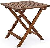 Xicaimen Deuba Beistelltisch Klapptisch Akazie Holz 46x46 cm Klappbar Balkontisch Holztisch Gartentisch Blumenhocker G