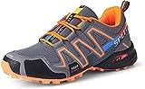 KUXUAN Fahrrad Schuhe Herren Rennradschuhe Mountainbike Fahrrad MTB Schuhe, rutschfeste und Atmungsaktive Freizeitschuhe,Grey+Orange-42