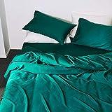 XJZKA Bettwäsche 4-teiliges Bettlaken-Set, Schlichtes, seidiges, doppelseitiges Tencel-Vierteiler-Nacktschlaf-Satinbettwäsche aus europäischem Stil, eisseide Bettwäsche Sommer-Monochrom-