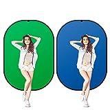 SEDGEWIN 2 in 1 Greenscreen Hintergrund Doppelseitige Pop Chromakey Faltbare Hintergrund mit Tragetasche, 100% Baumwolle (1x1.5M, Grün&Blau)