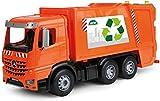 Lena 4614 x Worxx Müllauto Mercedes Benz Arocs, Spielauto ca. 53 cm, Nutzfahrzeug für Kinder ab 3 Jahre, robuster Müllwagen mit 2 Mülltonnen und realitischen Spielfunktionen, orange