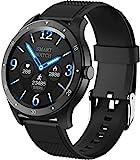 JSL Smartwatch für Damen und Herren, Herzfrequenz-, Blutdruck-, Schlaf-Monitor, Fitness-Tracker, Aktivitätstracker, Outdoor-Mode, Sport, Schrittzähler, Damen-Armband, Schwarz