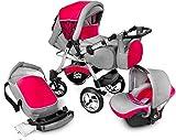GaGaDumi Urbano Kombikinderwagen Kinderwagen Babyschale 3in1 System Autositz (U11-Red zone)