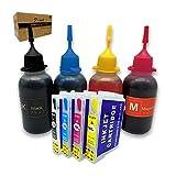 Kompatibel mit Epson 16 oder 16XL, wiederaufladbaren Tintenpatronen und 4 x 50 ml Tinte für Workforce WF-2630WF WF-2530WF WF-2760DWF WF-2510WF WF-2650DWF WF-2520NF WF-2660DWF WF-2750DWF WF-2540WF