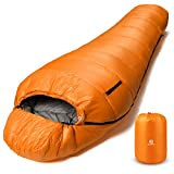 Bessport Schlafsack Winter | -9°C und 0℃ Outdoor Mumienschlafsack für Camping und Bergsteigen mit Ultraleichter und Ultrakompakter 100% Sprüh Gebundene Baumwolle 400g/m² Füllung