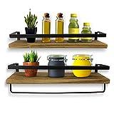 KelShiBasics Schweberegal 2er Set - Wandregal aus Holz und Metall für Küche und Badezimmer - Industrial Design Hängeregal mit extra Handtuchhalter - 43 x 14,5 x 7 cm - Schw