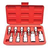 Werkzeug, 10 Stück Drop SAE 3/8 Zoll & 1/2 Zoll Antrieb Sechskantschlüssel Innensechskant-Steckschlüsselsatz, Sechskantschlüssel-Steckschlüsselsatz