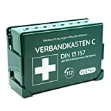Betriebsverbandkasten DIN 13157 gefüllt für Betrieb grün mit Wandhalterung (gemäß ASR) Verbandskasten Erste-Hilfe Kasten Koffer FLEXEO Wandmontag