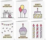 Geburtstagskarten Set - 12 umweltfreundliche Karten und Umschläge aus recyceltem Papier, Kindergeburtstagskarten, Geburtstagskarten für Erwachsene