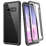 WE LOVE CASE Hülle für Samsung Galaxy S10 Plus, Stoßfest Handyhülle 360 Grad Rugged Schutzhülle mit Eingebautem Displayschutz Transparent Cover für Samsung S10 Plus, Schwarz