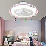 Yaoxi Bluetooth-Ventilator für Schlafzimmer, Deckenleuchte, leise, LED, Deckenventilator, Wohnzimmer, modern, dimmbar, 36 W, Kronleuchter, Ventilator, Rosa