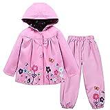 TURMIN Kinder Regenjacke Jungen Mädchen Regenanzug Regenbekleidung wasserdichte Kinderjacke Baby Kleinkind Winddichte Jacke Regen Poncho, Rosa, 130(5-6 Jahre)