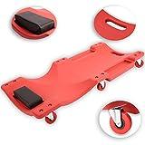 TRESKO KFZ Werkstatt Rollbrett Werkstattliege Montageliege aus High-Density-Polyethylen, Montagerollbrett mit 6 kugelgelagerten 360° Rollen, Rollliege mit 2 Ablagefächern, mit Kopfstütze, rot