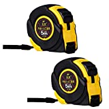2pcs Tape Measure 5 M Tape Measure With Belt Clamp Robust Steel Measuring Tape Heavy Measure Tape Meter & Inches Rubberised Maßband Massband Bandmaß Messband Rollbandmaß Rollmassband M