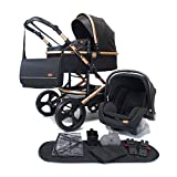 Pixini Kinderwagen (Kalani 3in1 Kombikinderwagen, inkl. Babywanne & Buggy & Auto-Babyschale - Wickeltasche/Cupholder/Regenschutz in gold/schwarz)