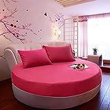 CYYyang Matratzenschoner- Optimaler Anti-Milben Einteilige runde Bettdecke aus Reiner Baumwolle - Rose Red_2m