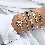 Edary Armband-Set mit Quasten, weißes Marmor-Armband, mit Herz, Perlen-Handkette, verstellbar, für Damen und Mädchen (5 Stück)