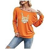 Damen Pullover trägerlos Halloween Totenkopf lustiger Print Sweatshirt Mode einfarbig lässiges langärmeliges Frühlings- und Herbstoberteil