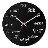 LIYUNKANG Wanduhr 30,5 cm jede Stunde markiert durch eine einfache mathematische Gleichung, eine mathematische Wanduhr, die in Klassenzimmern, Häusern und Büros verwendet wird, (schwarz)