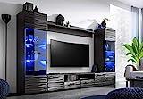 BIM Furniture Wohnwand MODIC 260 cm Anbauwand Wohnzimmer- Set Vitrine Lowboard schwarz Hochglanz LED
