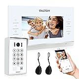 TMEZON WLAN Video Türsprechanlage Türklingel Gegensprechanlage System,7 Zoll 960P WLAN Monitor mit Verdrahteter Kamera Außen, 4in1 APP/Passwort/Card Swipe/Monitor entsperren, Snapshot/Aufnahme